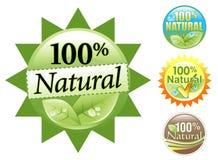 Jogo 100% natural orgânico verde do ícone Ilustração Stock