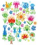 Jogo abstrato da flor do vetor Imagem de Stock Royalty Free