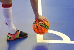 Jogo amigável de Futsal: Espanha de Ucrânia v em Kyiv, Ucrânia Foto de Stock