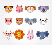 Jogo animal do ícone da face dos desenhos animados, Imagem de Stock