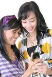Jogo ao redor no dispositivo móvel Fotografia de Stock