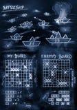Jogo azul da navio de guerra do esboço da mão no mar ilustração do vetor