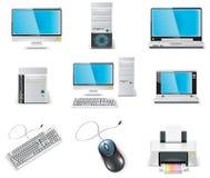 Jogo branco do ícone do computador do vetor. PC da parte 1. Imagens de Stock