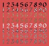Jogo caligráfico do numeral com suficiências diferentes Imagem de Stock Royalty Free