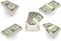 Jogo cheio de notas de banco de um dólar Foto de Stock
