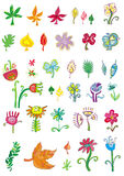 Jogo colorido das flores e do le Imagens de Stock