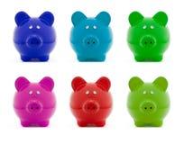 Jogo colorido do banco Piggy Fotografia de Stock