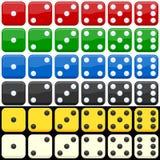 Jogo colorido dos dados Fotografia de Stock