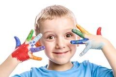 Jogo com a criança feliz das cores Fotos de Stock