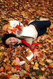 Jogo com folhas Imagem de Stock Royalty Free