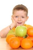 Jogo com frutas Fotografia de Stock