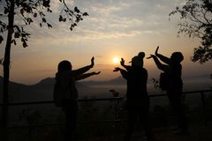 Jogo com o nascer do sol Imagem de Stock