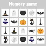 Jogo com tema do Dia das Bruxas das imagens para crianças, jogo para crianças, atividade pré-escolar da memória da educação do di ilustração stock