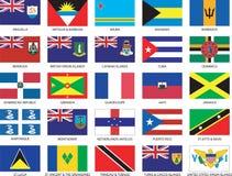 Jogo completo de 25 bandeiras do Cararibe Fotografia de Stock Royalty Free