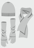 Jogo completo do knit da mulher (tampão, luvas, lenço). Foto de Stock Royalty Free