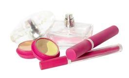 Jogo cor-de-rosa dos cosméticos fotos de stock royalty free