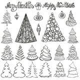 Jogo da árvore de Natal Bolas, rotulando preto ilustração do vetor