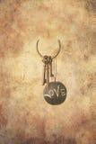 Jogo da antiguidade das chaves e de uma esfera da ardósia Fotos de Stock Royalty Free