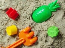 Jogo da caixa de areia e de criança Imagens de Stock