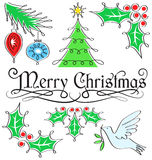 Jogo da caligrafia do Feliz Natal Fotografia de Stock