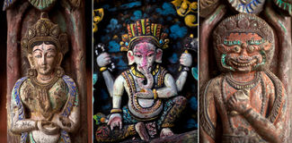 Jogo da cinzeladura de madeira antiga em Bhaktapur fotos de stock royalty free