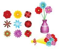 Jogo da coleção da flor, ramalhete da flor e um vaso Imagens de Stock Royalty Free