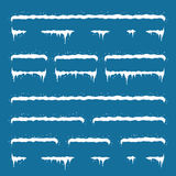 Jogo da decoração do ano novo para o Web site tampões da neve ajustados em m fotografia de stock royalty free