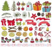 Jogo da decoração do Natal Garatujas coloridas ilustração stock
