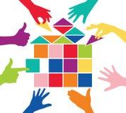 Jogo da equipe com a casa colorida das partes Fotografia de Stock