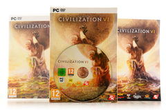 Jogo da estratégia do computador da civilização VI de Sid Meier Fotografia de Stock Royalty Free
