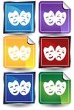 jogo da etiqueta da máscara 3D ilustração do vetor