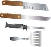 Jogo da faca de cozinha Fotos de Stock