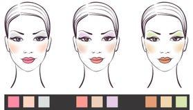 Jogo da face da menina da beleza com composição ilustração royalty free