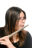 Jogo da flauta do close up Foto de Stock