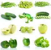 Jogo da fruta, de bagas e de vegetais verdes Fotos de Stock