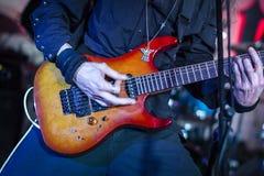 Jogo da guitarra Fotografia de Stock Royalty Free