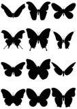 Jogo da ilustração de 12 silhuetas da borboleta. Fotografia de Stock Royalty Free