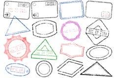 Jogo da ilustração do vetor do selo do passaporte ou do borne Fotografia de Stock Royalty Free