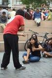 Jogo da improvisação em Miraflores, Lima, Peru Fotografia de Stock