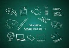 Jogo da instrução e do ícone da escola Foto de Stock Royalty Free