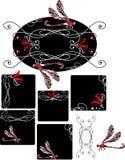 Jogo da libélula do estilo de Nouveau da arte Fotos de Stock