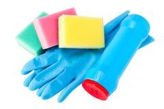 Jogo da limpeza, luva de borracha, esponja, frasco Fotografia de Stock Royalty Free
