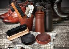 Jogo da limpeza para botas e sapatas Imagens de Stock Royalty Free