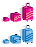 Jogo da mala de viagem, bagagem Imagens de Stock Royalty Free