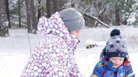 Jogo da mamã e do bebê do close-up em um parque do inverno ou em uma floresta, neve de jogo e emoções da experimentação da felici video estoque
