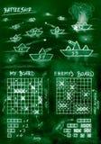 Jogo da navio de guerra do verde do esboço da mão no mar ilustração royalty free