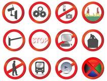 Jogo da proibição e da atenção diferentes do vetor Imagens de Stock Royalty Free