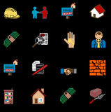 Jogo da série do ícone dos bens imobiliários Imagem de Stock Royalty Free