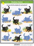Jogo da sombra de Dia das Bruxas com gato preto ilustração stock