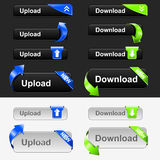 Jogo da tecla da transferência de arquivo pela rede e do Download Fotografia de Stock Royalty Free